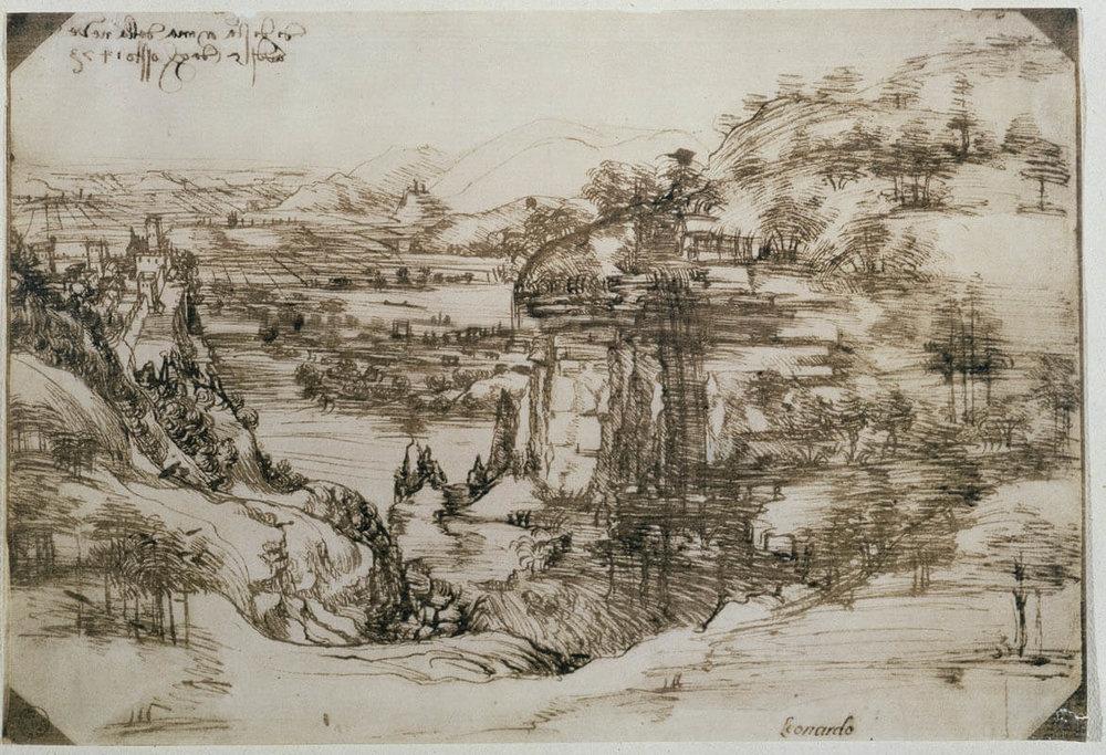 Leonardo da Vinci – Landscape (5 agosto 1473) – pen and iron gall ink, Gabinetto Disegni e Stampe, degli Uffizi, Florence