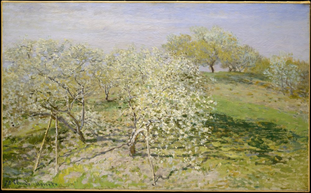 Spring (Fruit Trees in Bloom), 1873,, oil on canvas, Claude Monet, Metropolitan Museum
