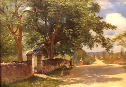 Street in Nassau, oil on cardboard, c. 1877-80, Albert Bierstadt, Museo Thyssen, Madrid