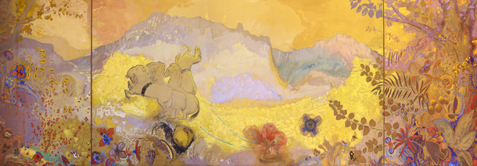 Day,  Odilon Redon, 1910-1911, one of the two paintings in the Library, Abbey of Fontfroide, France