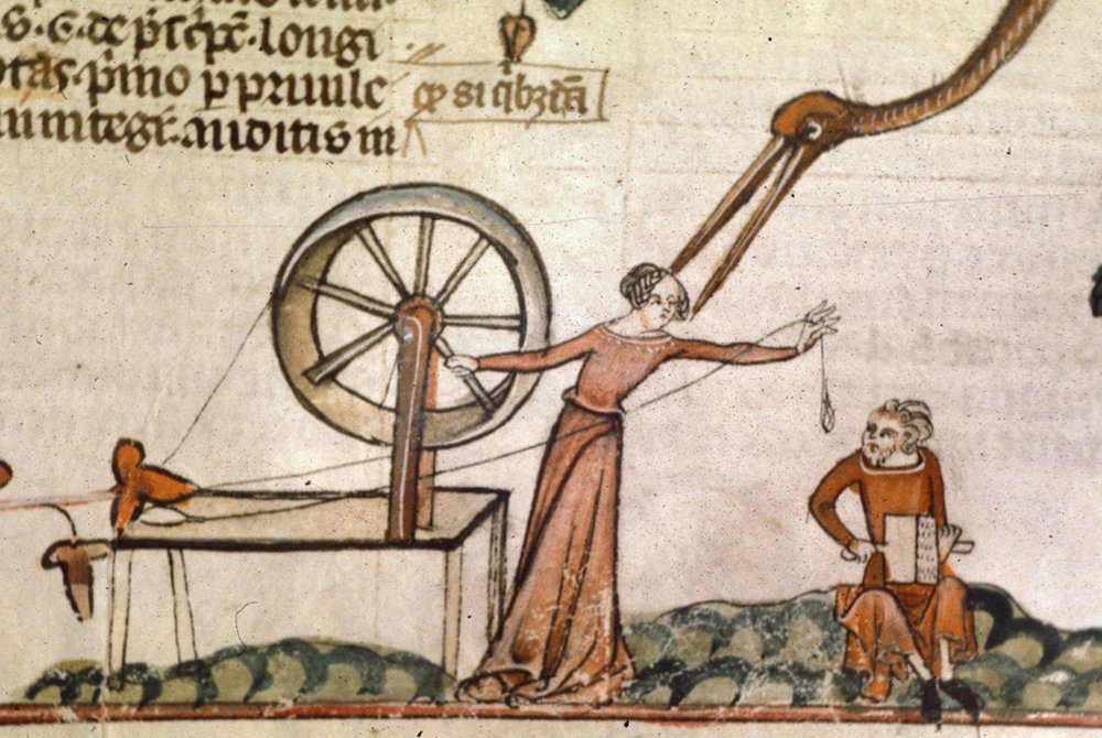 Woman at spinning wheel with man carding, Smithfield decretals, British Library Royal, c-1340