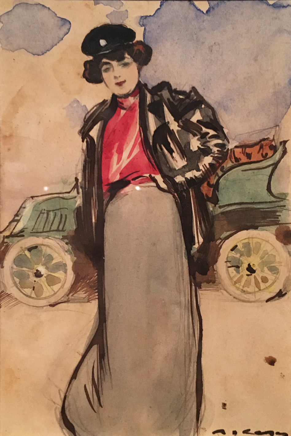The Lady Driver, watercolour, ink and pencil on paper, c. 1900, Ramon Casas