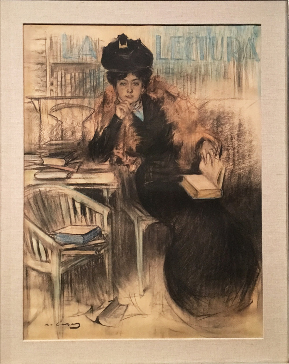 La Lecture, pastel, charcoal and pencil on paper, 1900-1903, Ramon Casas