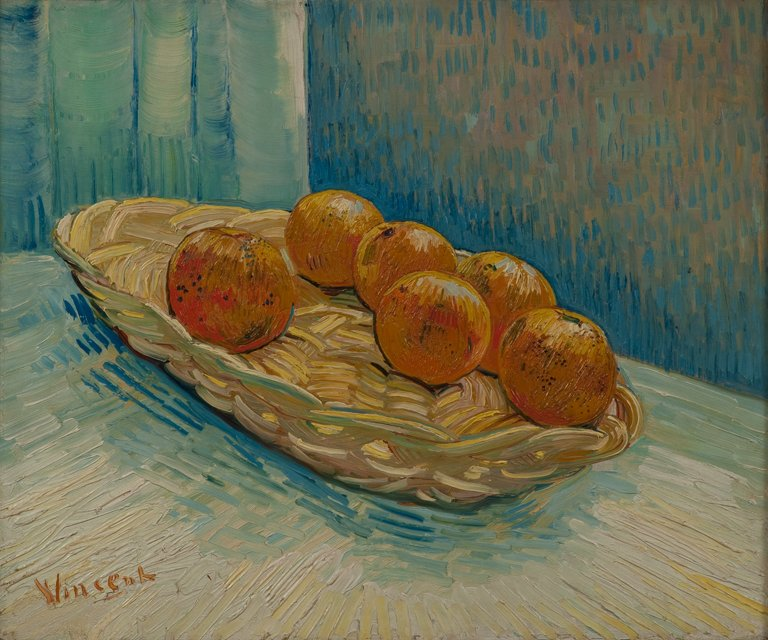 Still Life with Basket and Six Oranges,  Vincent Van Gogh,  Arles, 1888, Private Collection