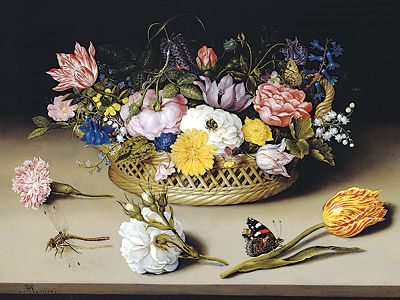 Flower Still Life,  (with violets), Ambrosius Bosschaert the Elder, 1614, oil on copper (Image courtesy of J. Paul Getty Museum)