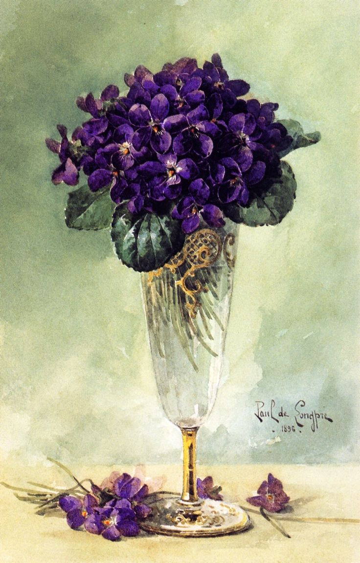 Violets,  Paul De Longpré, 1896, watercolour