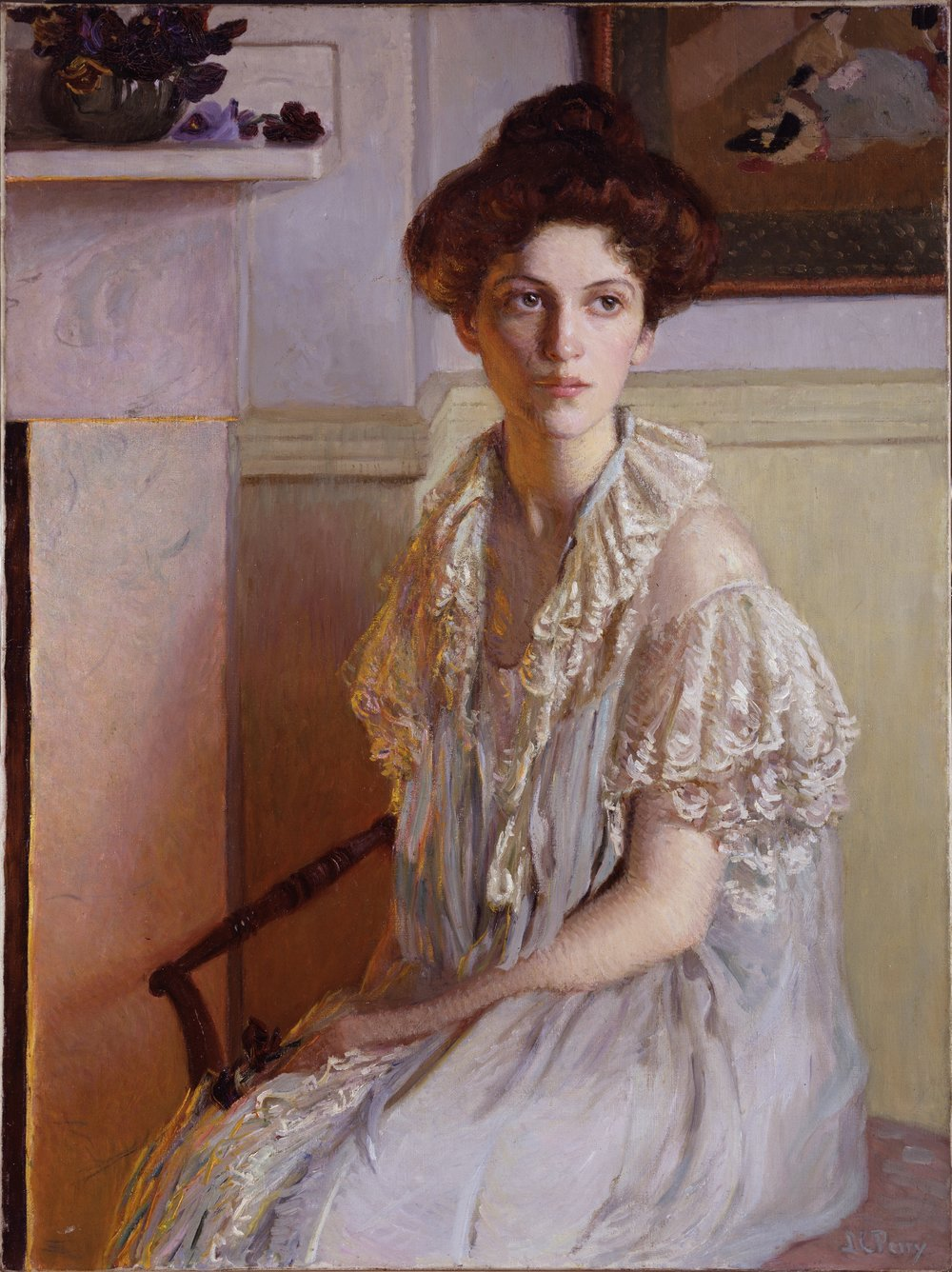 Lady with a Bowl of Violets,  1910, Lila Cabot Perry, (Image courtesy of the National Museum of Women in the Arts)