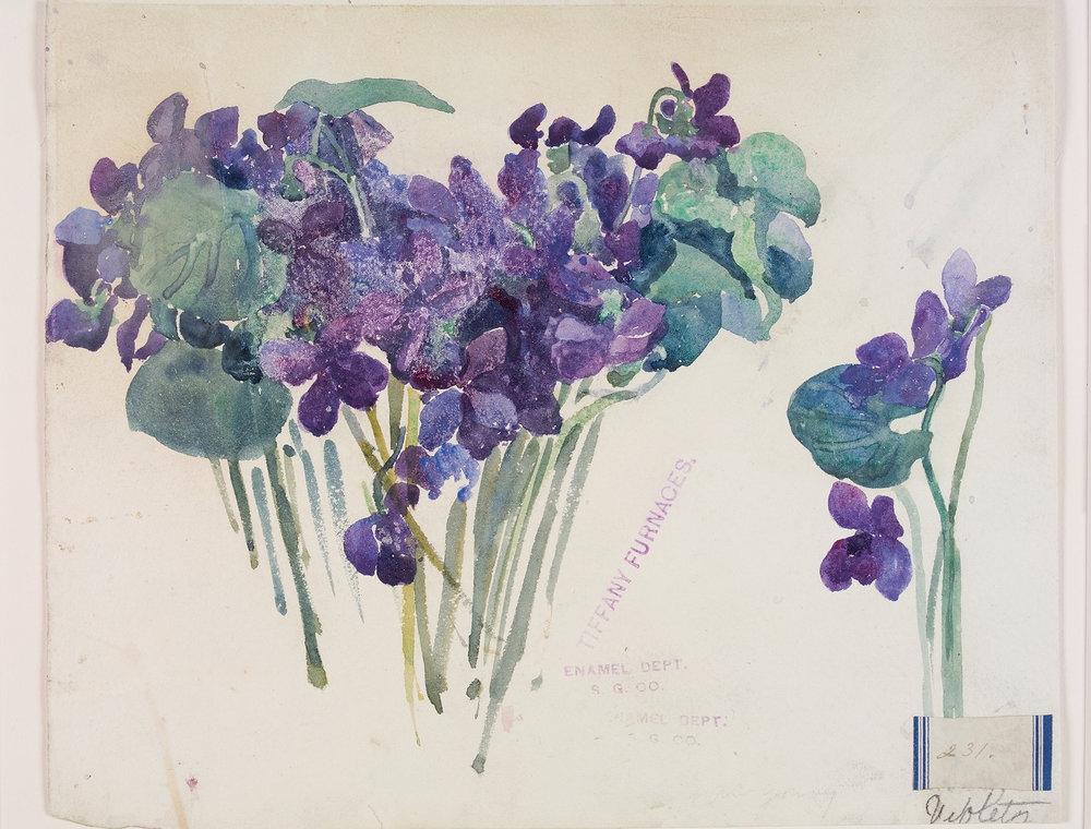 Violets 231, Alice Gouvy, Tiffany Furnaces, Corona, New York, about 1902