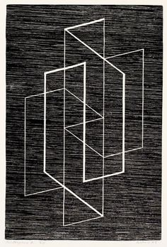 Multiplex A,  1947, Josef Albers, Woodblock on paper, 16 1/2 x 12 1/2""