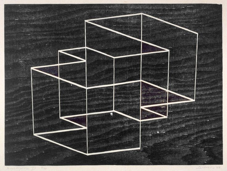Multiplex B,  1948, Josef Albers, Woodblock on paper, 16 1/2 x 12 1/2""