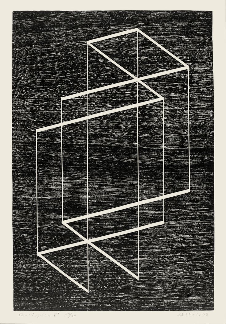 Multiplex C,  1948, Josef Albers, Woodblock on paper, 16 1/2 x 12 1/2""