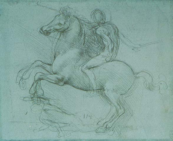 A Rider on Rearing Horse Trampling a Fallen Foe (Study for Sforza Monument), Leonardo da Vinci, metalpoint on blue prepared paper, (image courtesy of Windsor Castle, Royal Library)