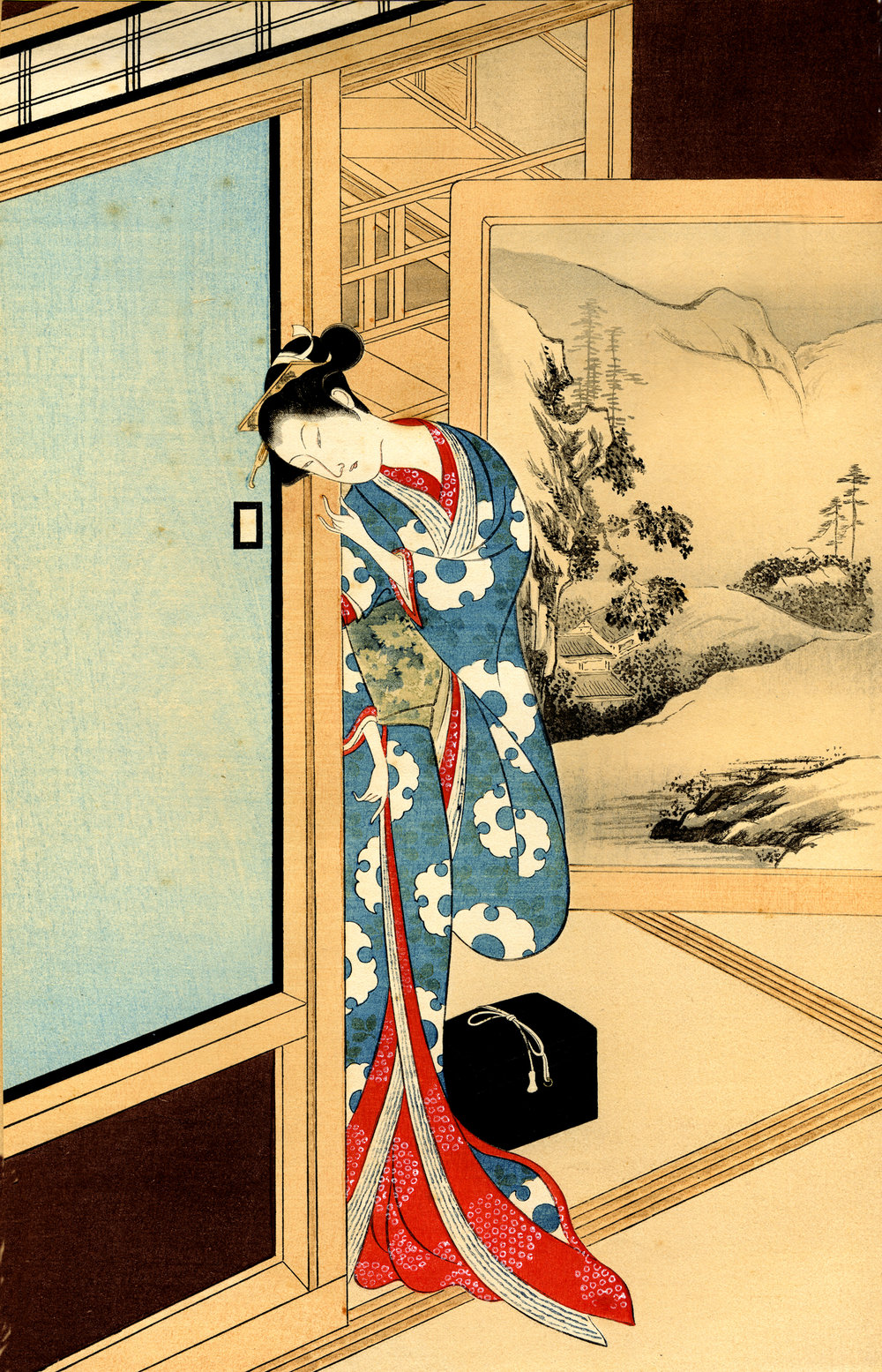 A Beauty, 1924 woodcut print, original attributed to Kokan Shiba (1728-1800)