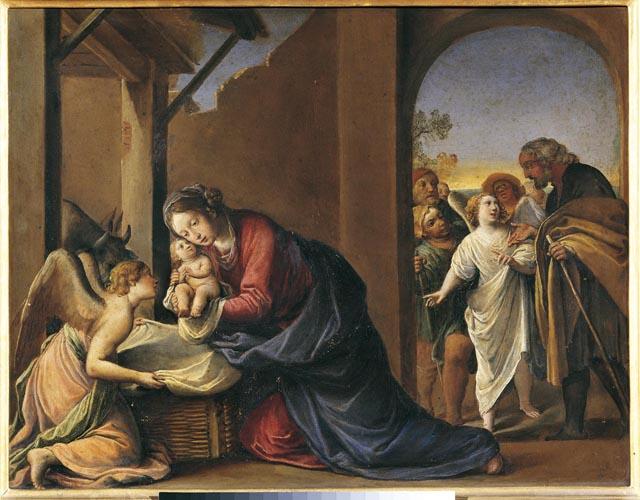 The Nativity, oil on copper, 1650s, Tiarini, 13 x 16.8 inches