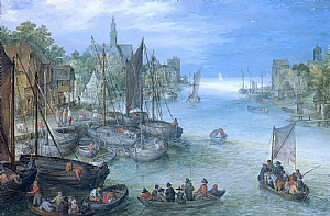 "Jan Brueghel I, ""View of a City and River"", Oil on Copper, 1578."