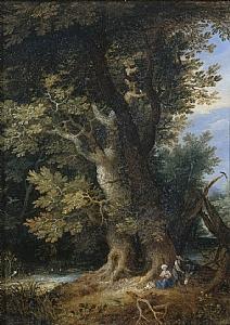"""Jan Brueghel I, """"Restbreak while Escaping Egypt"""", Oil on Copper"""