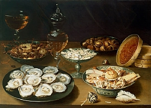 "Osias Beert I, ""Still Life of Oysters, Sweetmeats, and Dried Fruit"", Oil on Copper, 1609"