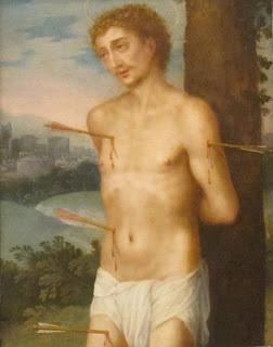 Saint Sebastian , oil on copper painting by Juan Sánchez Cotán, after 1603