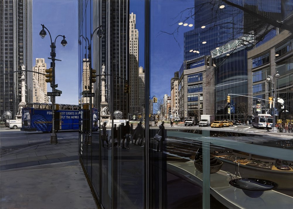 "Richard Estes ""Columbus Circle Looking North,"" 2009 Oil on canvas, 40 inches by 56 1/4 inches. Linden and Michelle Nelson Tenants by the Entirety © Richard Estes, courtesy Marlborough Gallery, New York"