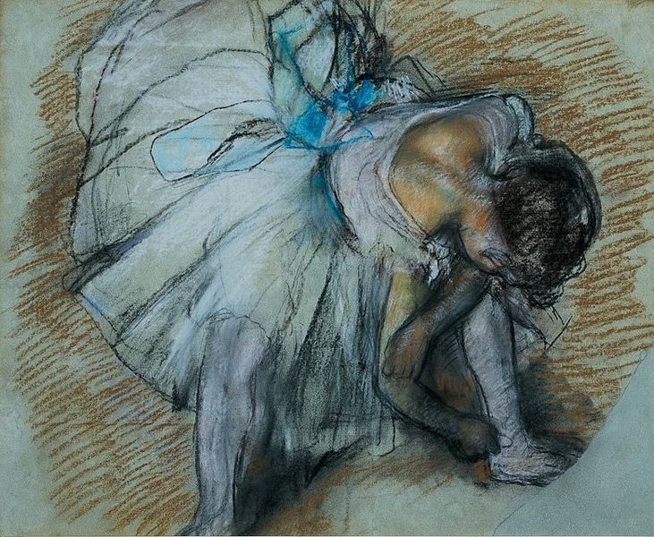 Dancer adjusting her shoe, 1885, Edgar Degas, pastels