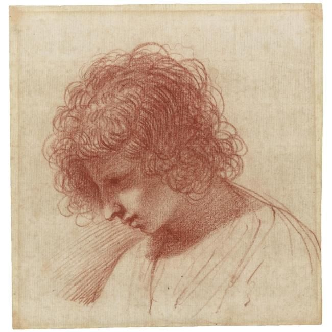 Giovanni Francesco Barbieri, called Il Guercino (Cento 1591 - 1666 Bologna),  Head of a young man in profile, looking down to the left,  red chalk  (Image courtesy of  Sotheby's)