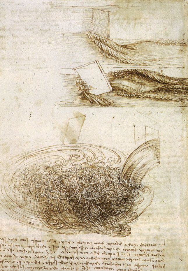 Whirlpools of water, from Leonardo da Vinci, pen and ink,  1508-09, Windsor, Royal Library.