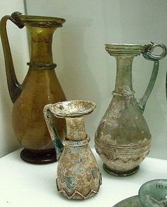 Three Roman glass vessels, c. 2nd-4th century AD, (Image courtesy of Archaeological Museum, Istanbul )