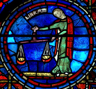 Lower Window, Signs of the Zodiac, detail - Libra, Chartres Cathedral. c. 1235