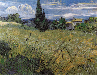 Green Wheat Field with Cypress,  oil on canvas, Van Gogh, 1889 (Image courtesy of Národiní Galerie, Prague)