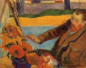 Vincent Van Gogh Painting Sunflowers,  Paul Gauguin, oil on canvas, 1888, (Image courtesy of Van Gogh Museum, Amsterdam)