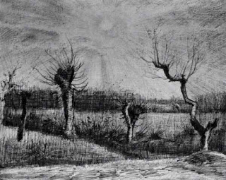 Landscape with Willows and Sun shining through the Clouds, Nuenen , mid March 1884, ink (Image courtesy of the Art Institute of Chicago)