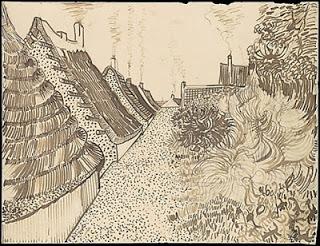 Street in Saintes-Maries,  June 1888, reed pen and ink on paper