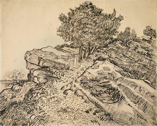 The rock of Montmajour with pine trees , 1888. (Image courtesy of Van Gogh Museum, Amsterdam)