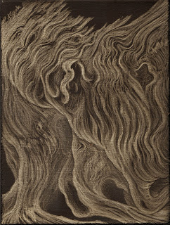 "Turmoil - Red Oak,  silverpoint on black ground, 7.5 x 5.5"" image, Jeannine Cook"