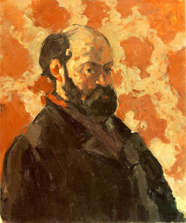 Self Portrait with Rose Background , oil on canvas, Paul Cezanne, c. 1875.  Image courtesy of a Private Collection