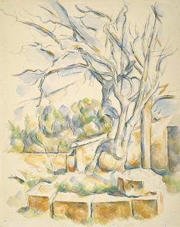 Pistachio Tree at Chateau Noir,  watercolour with graphite on cream wove paper, laid down on tan wove paper, Paul Cezanne.  Image courtesy of the Art Institute of Chicago