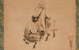 Sekkan (active 1555-1558) Monk Riding Backward on an Ox. Hanging scroll; ink on paper  Image: 13 7/8 x 16 7/8 in. The Phil Berg Collection. Image courtesy of  Museum Associates/LACMA