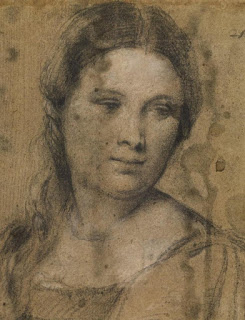 Tiziano Vecellio, called Titian (Italian, ca. 1485/90-1576). Study of a Young Woman (detail), ca. 1510. Black and white chalk on faded blue paper. 41.9 x 26.5 cm (whole drawing).  © Prints and Drawings Department, Galleria degli Uffizi, Florence