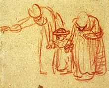 Two women teaching a child to walk, Rembrandt, 1635-37. Red chalk.  Image courtesy of the British Museum.