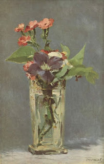 Carnations and Clematis in a Crystal Vase,  Edouard Manet, 1882, (image courtesy of the Musee d'Orsay).