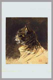 Watercolour study of a cat's head, c. 1824-29, E. Delacroix, (image courtesy of the Louvre)