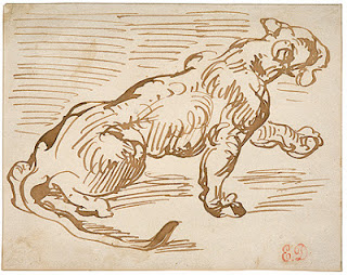 Brown ink study of a lioness, E. Delacroix, (image courtesy of the Frick Collection)
