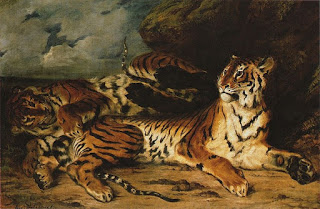 Young tiger playing with its Mother,  from a lead pencil drawing that is very similar., oil on canvas, E. Delacroix, (Image courtesy of the Louvre)
