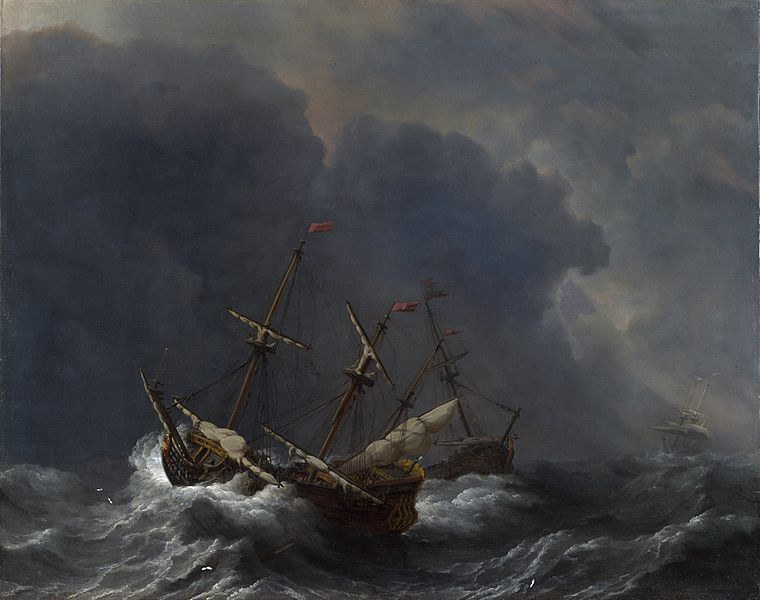 Three Ships in a Gale , W. van der Welde, 1673 (Image courtesy of The National Gallery,London)