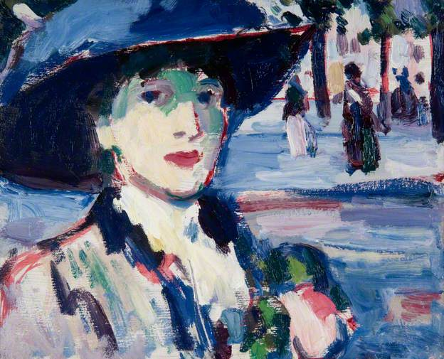 Anne Estelle Rice in Paris - Closerie des Lilas, 1907, oil on canvas, John Duncan Fergusson