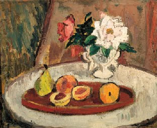 Still life with fruit and flowers , Anne Estelle Rice  (recently sold at Sotherbys)