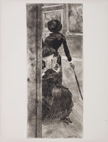 At the Louvre, Painting, Mary Cassatt,  etching, 1879-1880., Edgar Degas (image  courtesy of the  Jenisch Museum , Vevey, Switzerland).