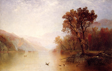 Lake George , ca. 1860, John Frederick Kensett (1816–1872)  Oil on canvas, 22 x 34 inches (approx.) Collection Museo Thyssen-Bornemisza, Madrid, Spain,