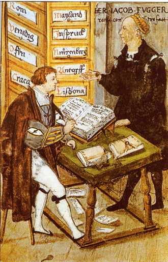 Office of  Jacob Fugger ; with his main-accountancy Matthaus Schwarz,  from biography of M. Schwarz; Herzog-Anton-Ulrich-Museum Braunschweig