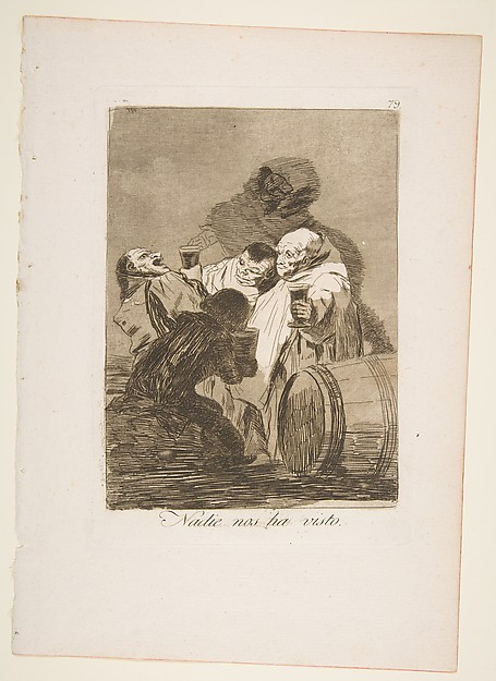 Caprichos, no. 79, Nadie nos ha visto (No one has seen us). 1799, Francisco Goya (Image courtesy of the Metropolitan Museum,New York)